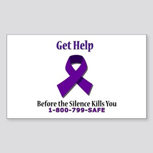 Purple Ribbon Rectangle Sticker